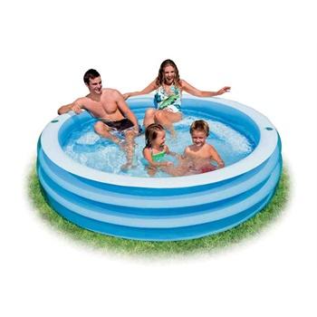 正品intex淡蓝家庭充气水池休闲游泳池游戏球池57481含座位放杯口