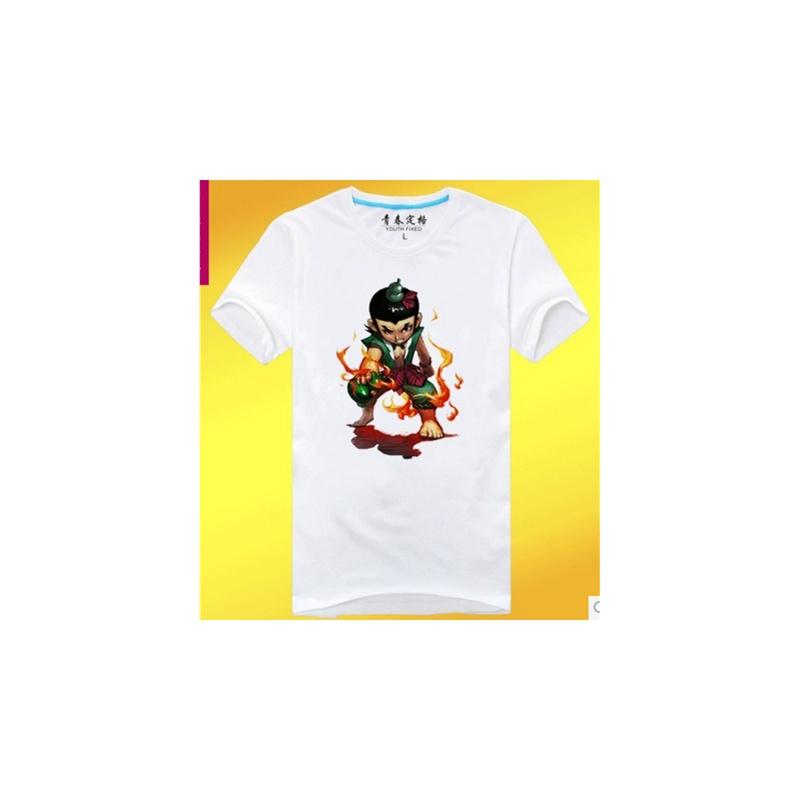 2014新款卡通葫芦娃全棉t恤 圆领个性时尚短袖t恤情侣装 _白色,l