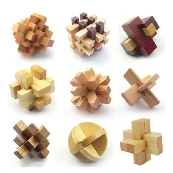 成人益智休闲智力玩具鲁班木制鲁班球 孔明锁鲁班锁9件套装