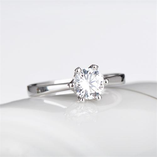 相思树 925纯银戒指 女 潮人 皇冠戒指银饰品 六爪婚戒仿钻戒50分指环