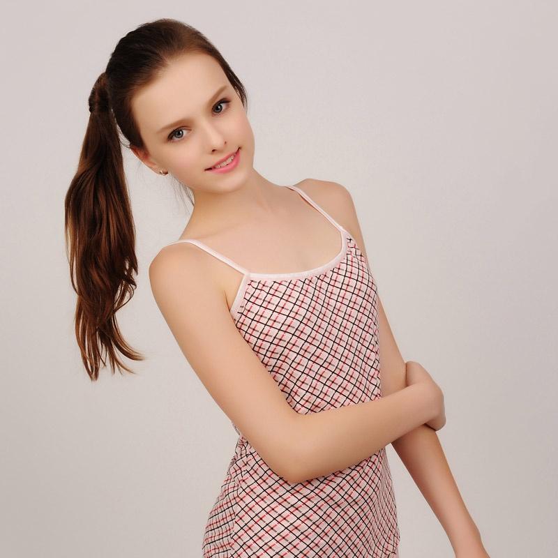 纯棉舒适可调节肩带 健康修身多色学生吊带小背心bd13s398-1_粉色格子图片