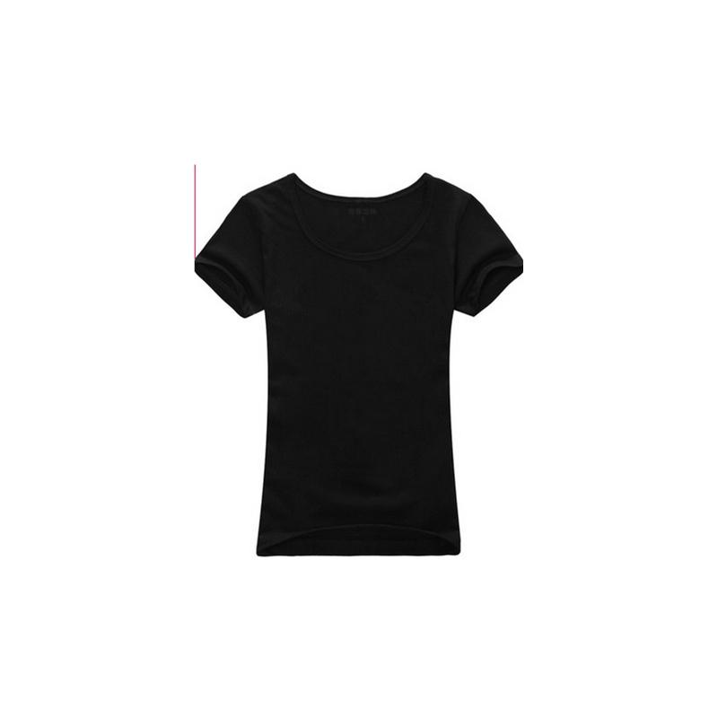 纯色空白t恤 女 半袖t恤 短袖 时尚大码打底衫_黑色,l