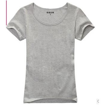纯色空白t恤 女 半袖t恤 短袖 时尚大码打底衫_灰色,xxxl