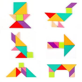 米米智玩 儿童益智 形状认知拼图故事书七巧板早教婴儿游戏玩具水性漆