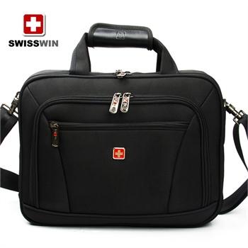 swisswin瑞士军刀男士商务电脑包单肩斜挎包14寸手提