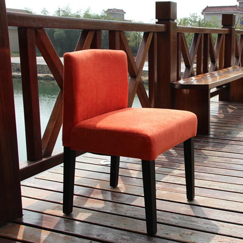 实木布艺餐椅餐凳休闲椅现代简约办公椅子