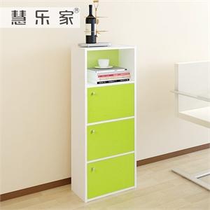 绿色墙壁置物架简易书架-木色和绿色墙壁置物架