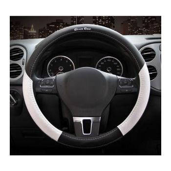 汽车方向盘套福特新蒙迪欧福克斯麦克斯翼虎翼搏经典运动风 _纤皮白黑