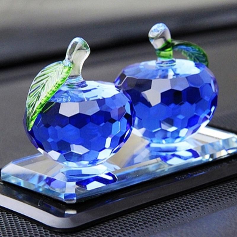 石家垫 汽车摆件 双苹果水晶汽车摆件 汽车内饰汽车用品_宝石蓝