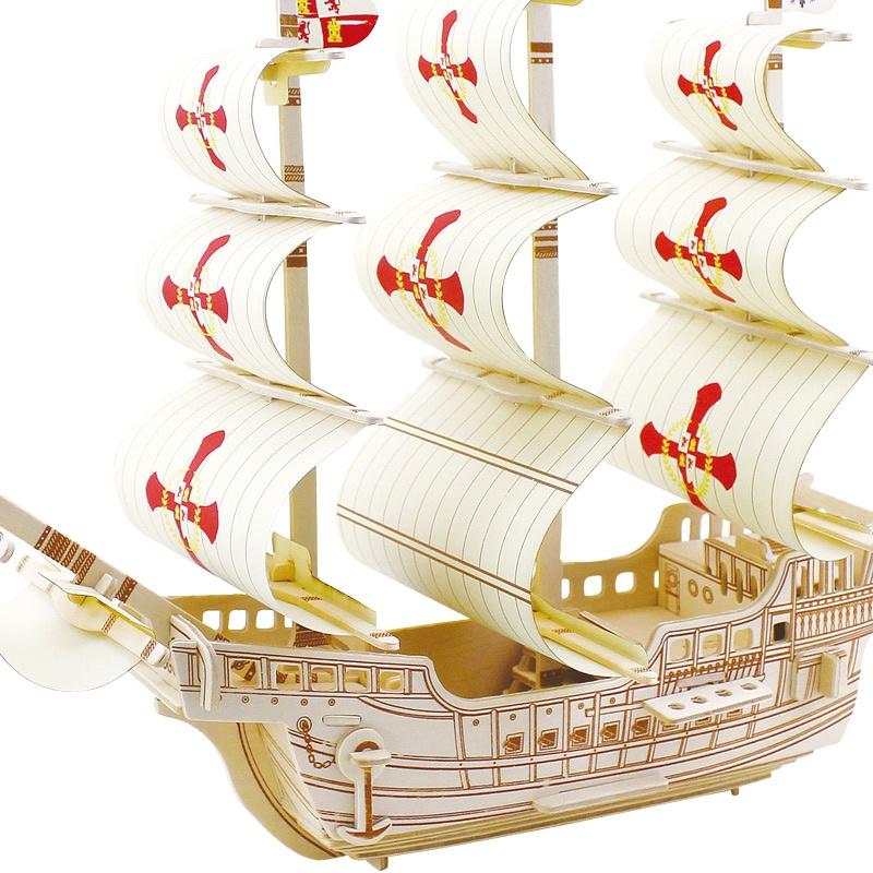 若态科技木质 帆船 模型拼装3D木质立体 拼图