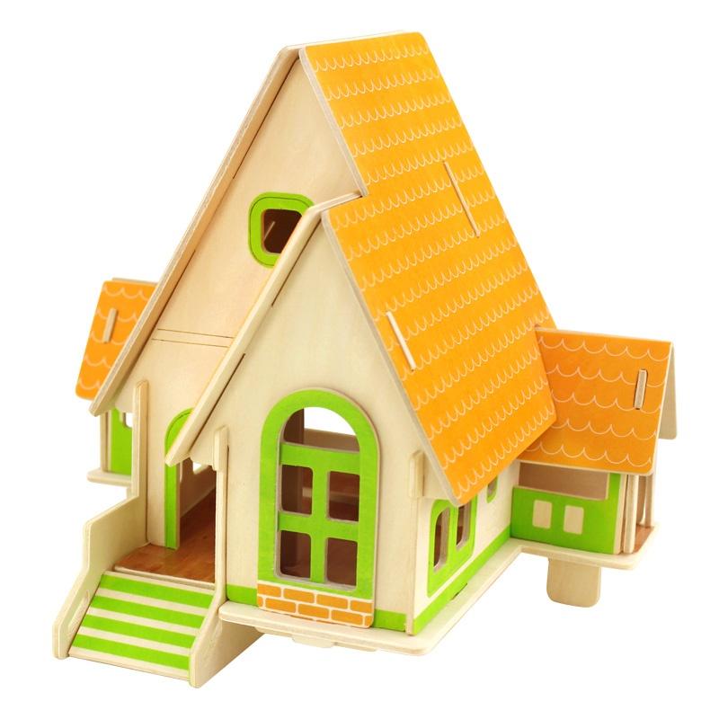 若态木制3d立体拼图农家别墅小屋小房子木质拼图拼装模型益智玩具