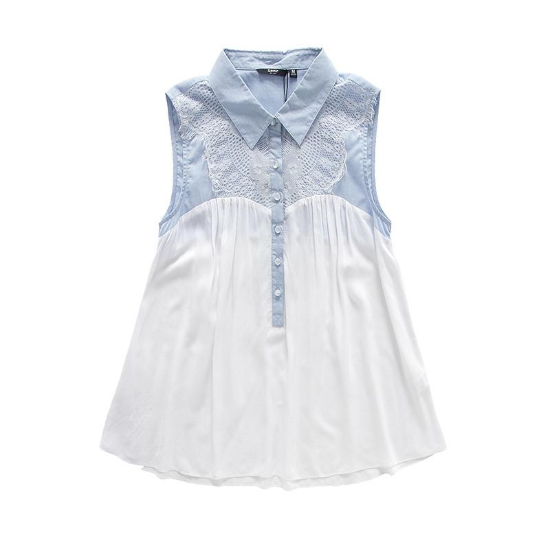 女拼接蕾丝花边短袖衬衫 韩版潮女百搭原价119元19214040007_蓝白色调