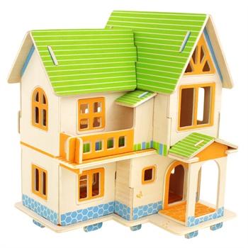 若態木制3d立體拼圖農家別墅小屋小房子木質拼圖拼裝