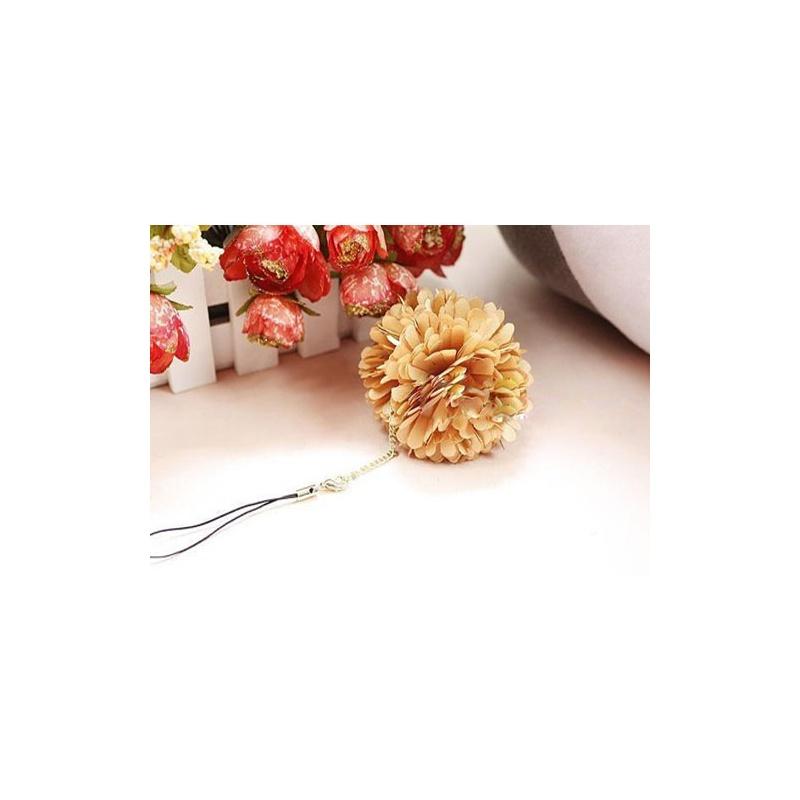韩国jj-立体花朵编绳手机链花朵手机链银棕色