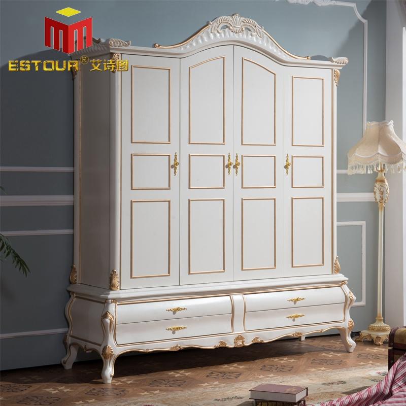 卧室家具 大衣柜 艾诗图 欧式卧室四门柜 纯实木脚雕花描金 底部四抽