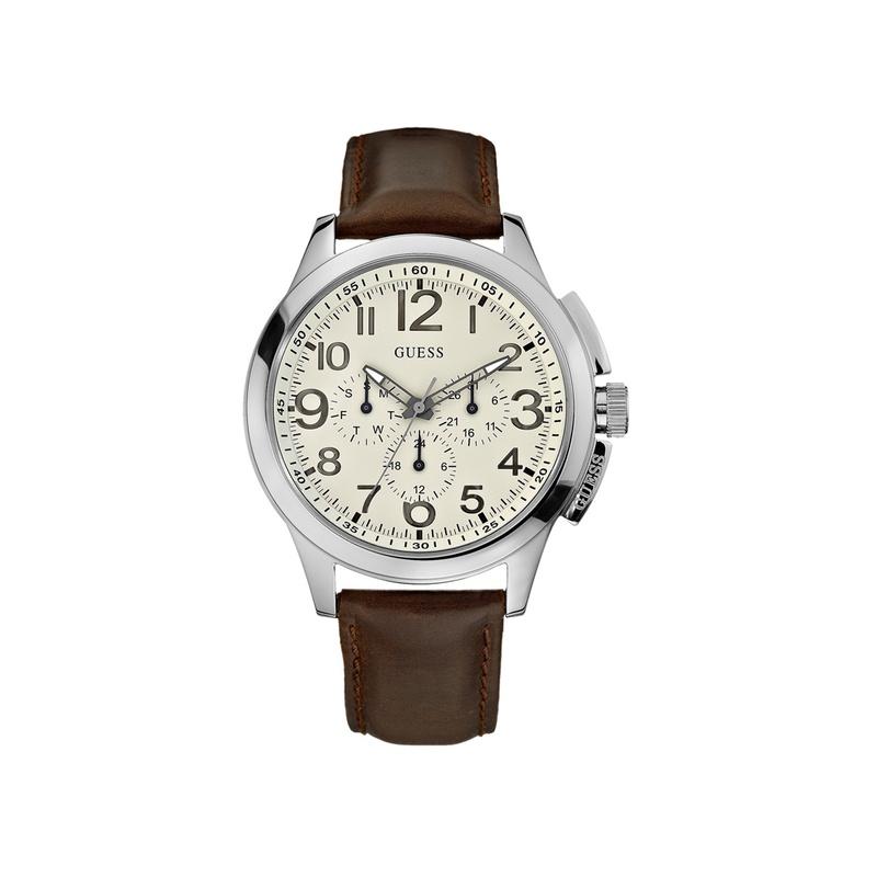guess手表 潮流时尚圆形表盘指针式男士手表 w10562g1
