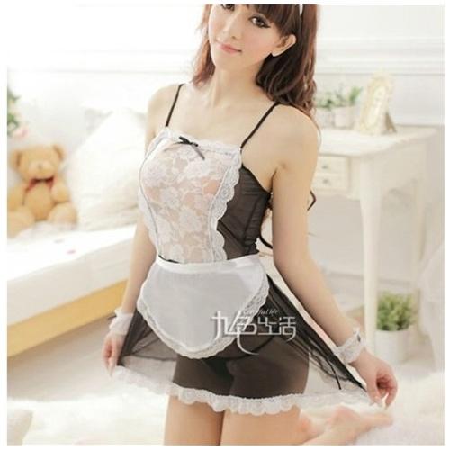 蕾丝透明可爱厨娘女仆装睡裙情趣内衣制服大码女佣服性感套装_短裙