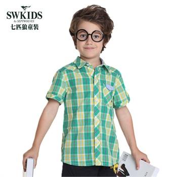七匹狼童装swkids男童格子短袖衬衣儿童条纹短袖衬衫2015夏季新款衬衫