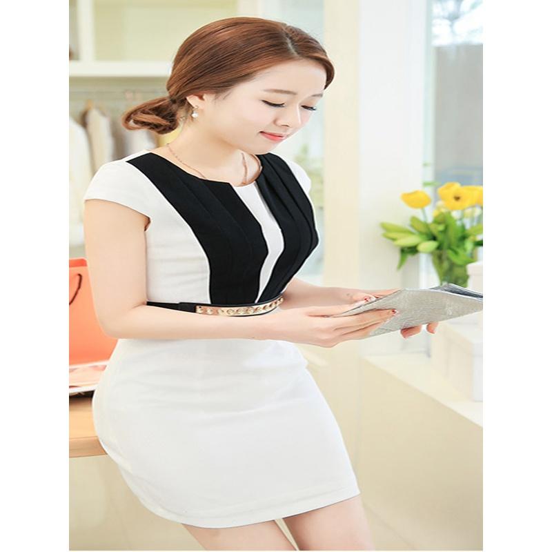 2014夏季新款 女士可爱优雅短袖连衣裙配腰带_白色,xxl
