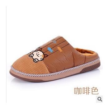 卡通棉拖鞋 情侣猫咪头棉拖鞋