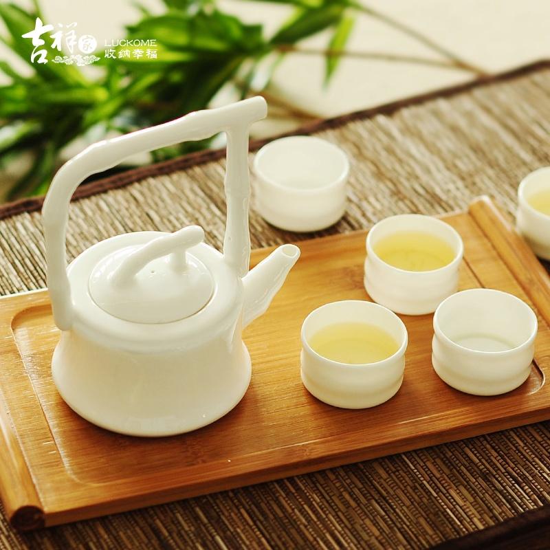 吉祥家 现代中式骨瓷茶具套装[品竹]创意竹节茶壶饮具小茶杯瓷器