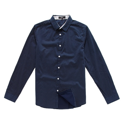 森马男装2014春装新款休闲长袖波点衬衫男衬衣专柜款原价179元图片