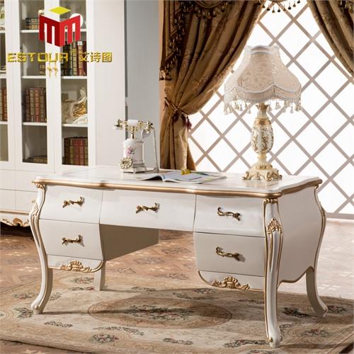 艾诗图 欧式书房书桌 纯实木脚雕花描金 多抽储物 高贵典雅 e-117