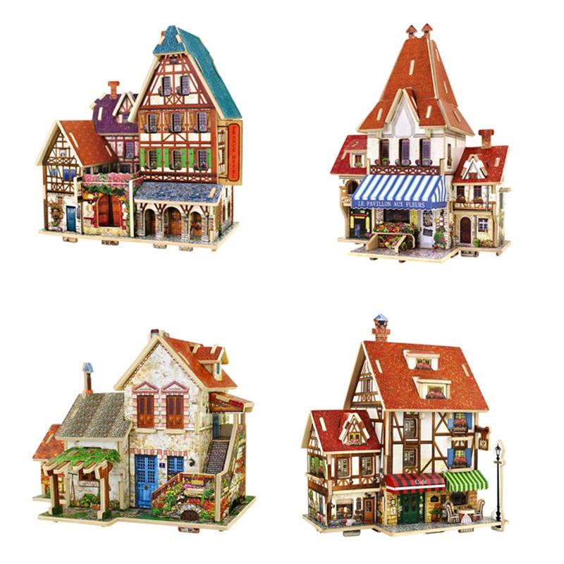 若态3d立体拼图木质房子模型玩具世界建筑模型diy手工木质拼图