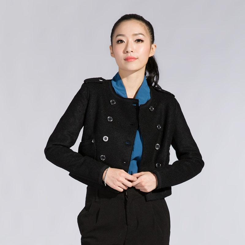 森马2013新款 女士外套双排扣圆领短外套 修身风衣 女装 原价199元120图片