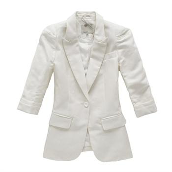 糖果色西装外套 五分袖春款西服女原价279元19114110001_白黄色调,xl