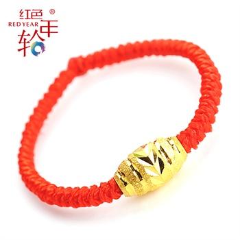 红色年轮 999千足金转运珠戒指送男女朋友礼物本命年黄金情侣戒指 0.