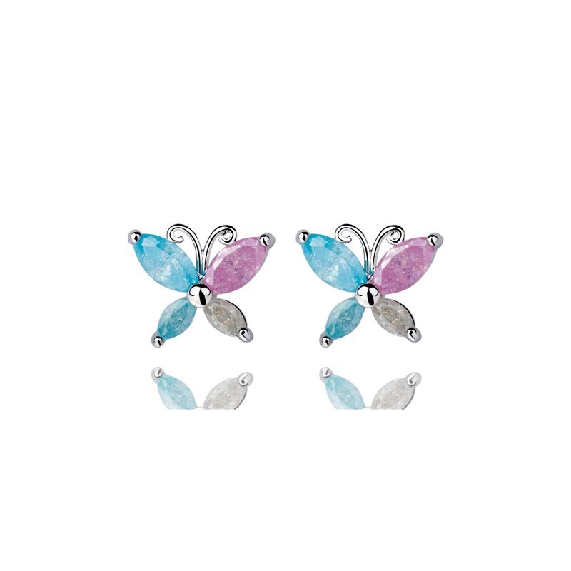比雅琦piaci 甜美可爱蝴蝶小耳钉 彩色爆花石镶嵌
