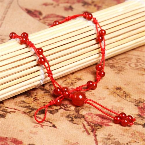 妃晶 纯天然红玛瑙手编红绳脚链 时尚大气 女生最爱 时尚复古 韩版