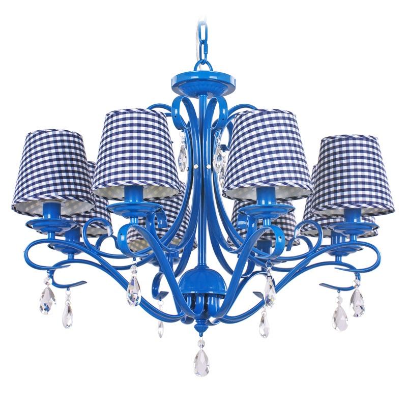 欧式田园铁艺吊灯 地中海风格客厅灯md5001-8蓝色