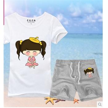 韩版个性可爱闺蜜卡通印花t恤女 学生姐妹装爱心夏装_灰色裤子 s上衣b