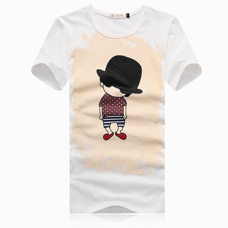 男士短袖t恤 男式t恤衫 卡通人物 男装胖子大码t恤上衣 有加肥加大码
