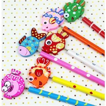 韩国可爱木质卡通动物铅笔 创意学习用品 木制铅笔 彩绘铅笔_紫色