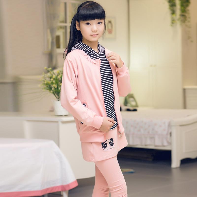童装女童秋装2014韩版新款运动套装三件套大童女装 儿童衣服_粉色,150