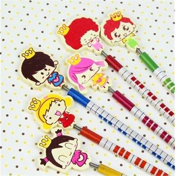 【达诚信办公文具】韩国可爱木质卡通铅笔 卡通娃娃