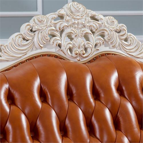 艾诗图 欧式客厅沙发 全实木框架雕花描金 进口头层牛皮 高贵典雅 e-3