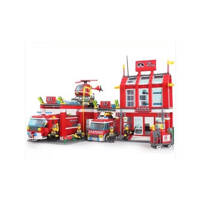 启蒙拼装玩具 乐高式拼装玩具积木 消防局消防车系列启蒙积木911