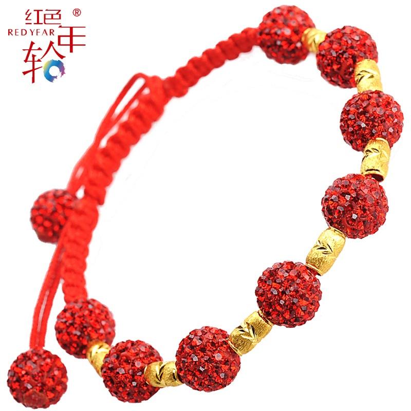 大颗粒水晶红绳手链 纯手工精编织千足金女款手链 花团锦簇_金珠0.