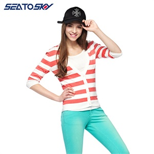 sea tosky 2014春夏新款条纹V领七分袖针织开衫毛衣3IJ582E120满额减,限时抢购