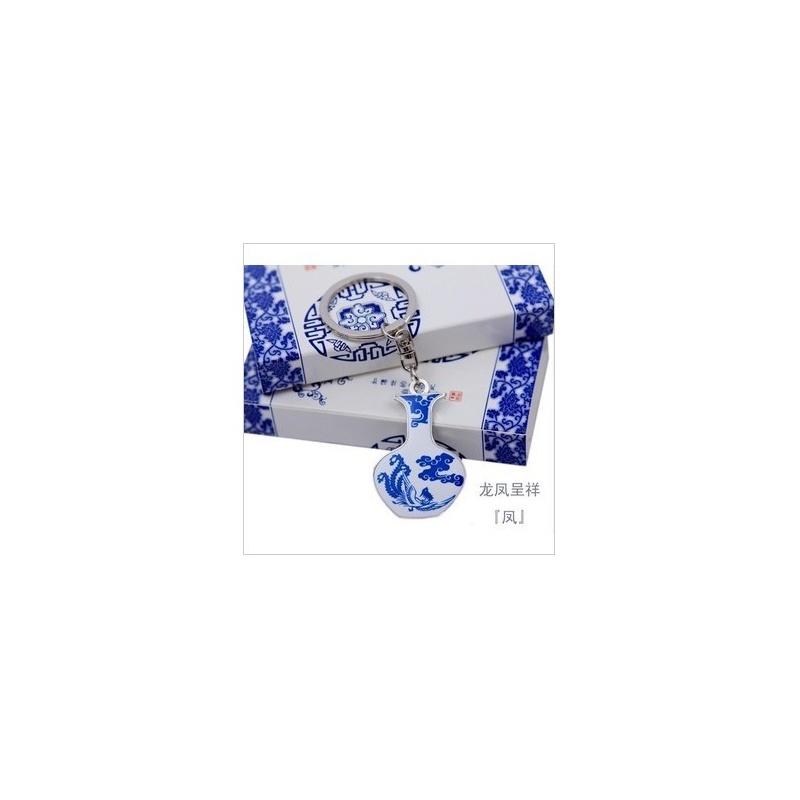 青花瓷钥匙扣创意中国风礼品花瓶钥匙圈链饰品 小礼品 _凤瓶不带盒子