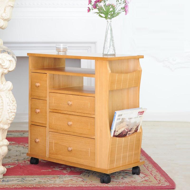 田园客厅实木沙发边柜实木储物柜抽纸盒收纳
