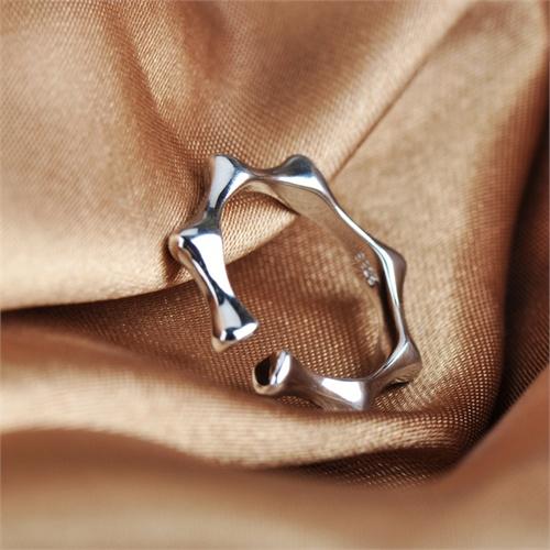 相思树竹节戒指 925纯银戒指主君的太阳开口戒 女士个性齿轮指环jz079