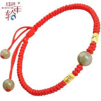 千足金转运珠纯手工编织红绳手链