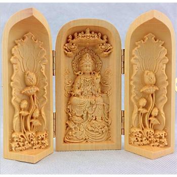 黄杨木雕佛像三开盒自在观音木质工艺品