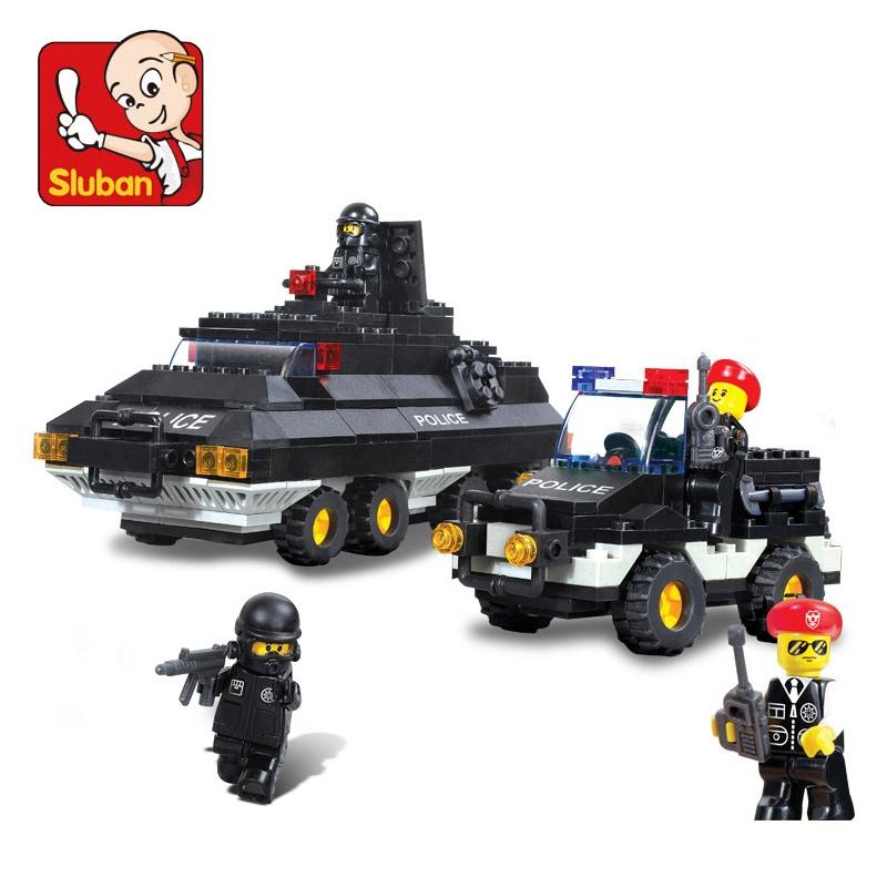 小鲁班积木 防爆特警/装甲巡逻车 儿童拼装益智玩具 拼插玩具