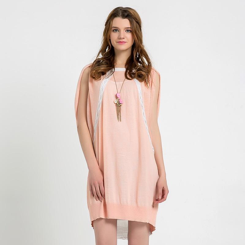 su 玛丝菲尔素品牌女装 2014夏季新款两件套时尚针织连衣裙_粉红色,m